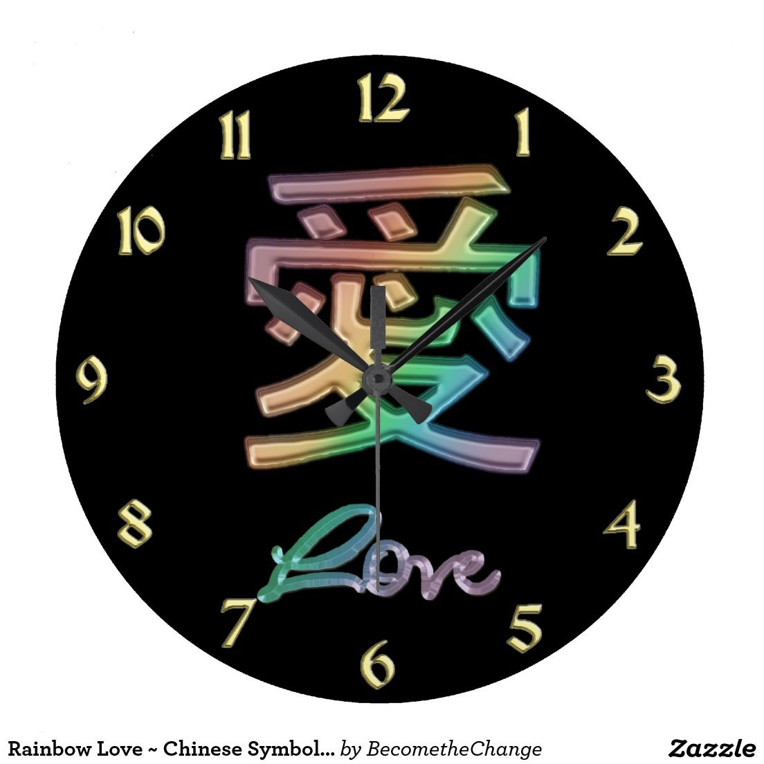 Rainbow Love Chinese Symbol For Love Large Clock Large Clock