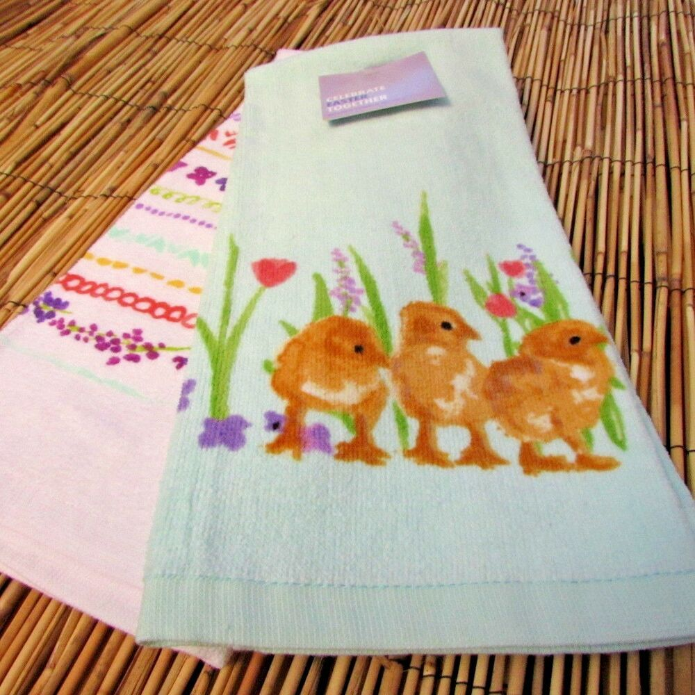 Spring Chicks Tulips Decorative Kitchen Towel 2 Pack Hand Towel