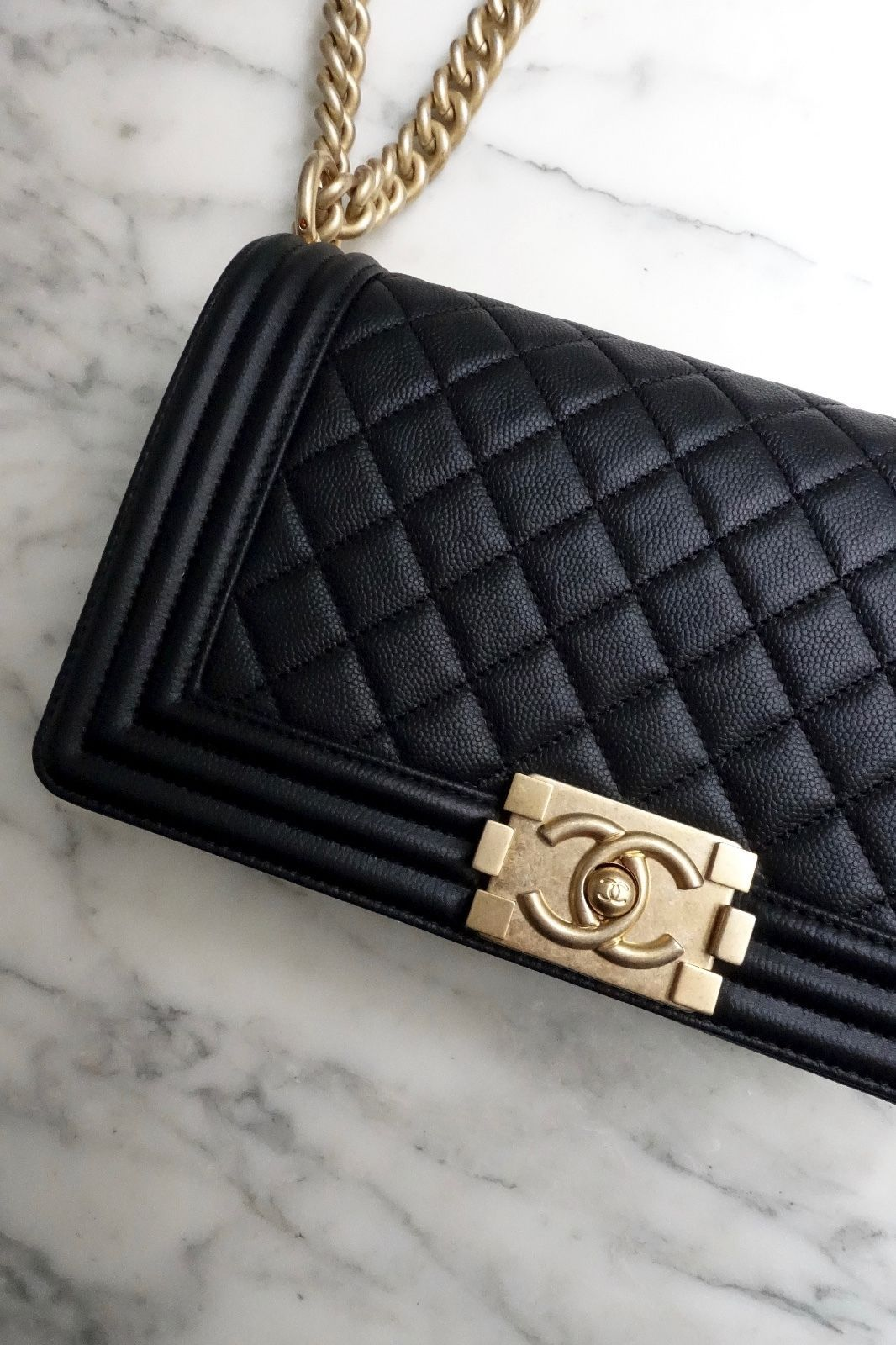 a65a8bd09157b8 *NEW* 2017 AUTH CHANEL BOY BAG Black Quilted Caviar Leather Light Gold  Chain Bag $5200.0