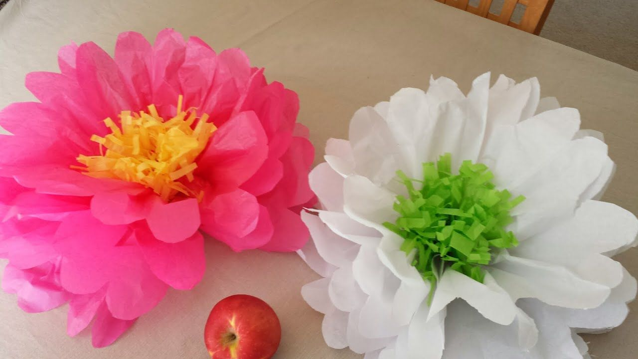 How To Make Tissue Paper Flowers Youtube Addison S 4th Birthday