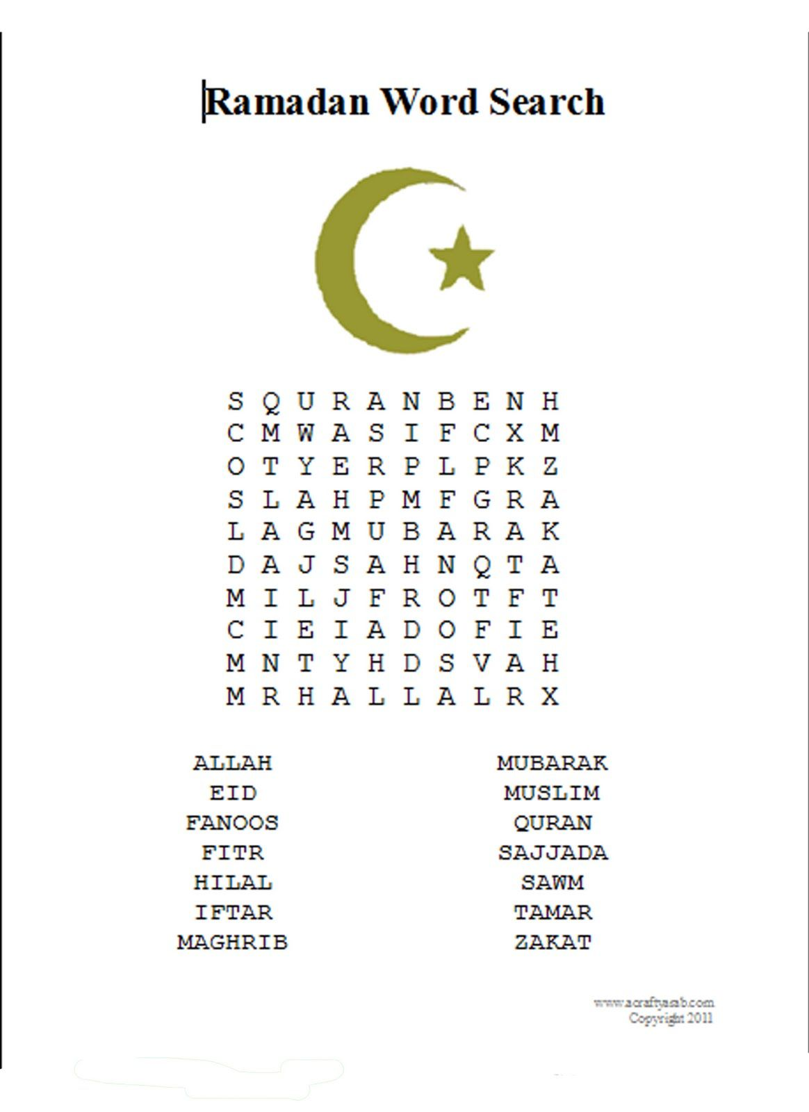 A Crafty Arab Ramadan Word Search