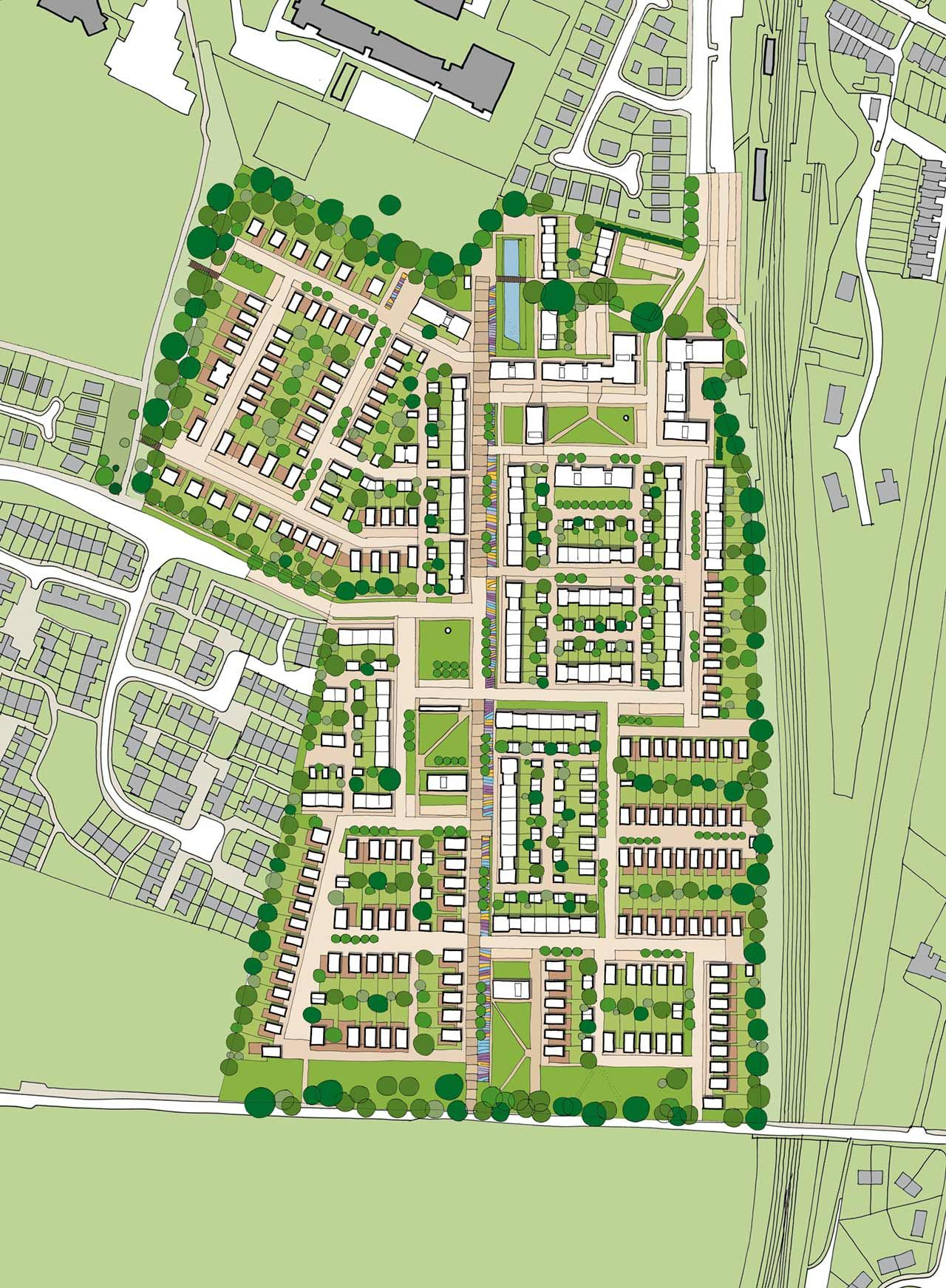 Overall Masterplan South Queensferry Residential Masterplan At The Core Of This Mixed Use Masterplan I Urban Planning Urban Design Plan Urban Spaces Design