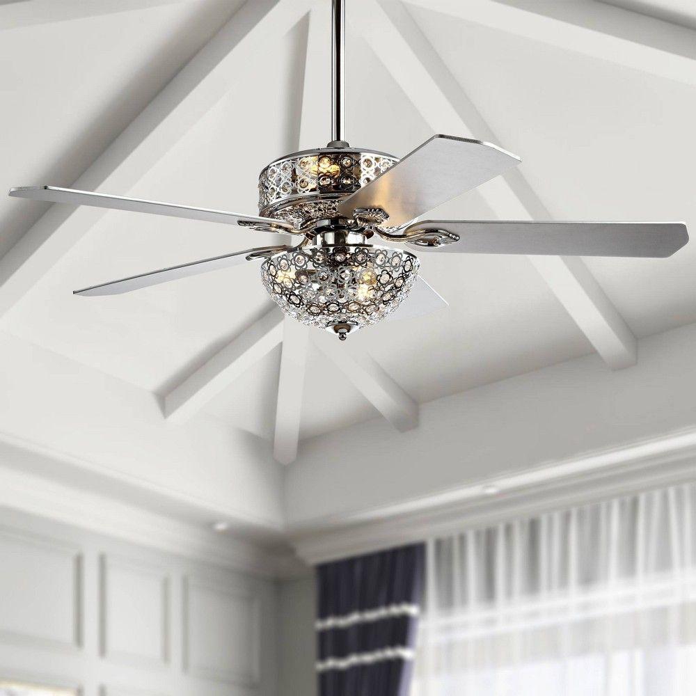 52 Led Metal Wood Filigree Ceiling Fan Chrome Jonathan Y In 2021 Ceiling Fan With Remote Ceiling Fan Led Ceiling Fan