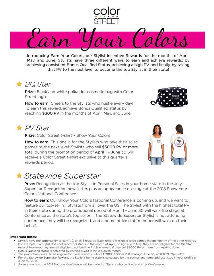Earn Your Colors Color Street Rewards For Bonus Qualifying Ask Me