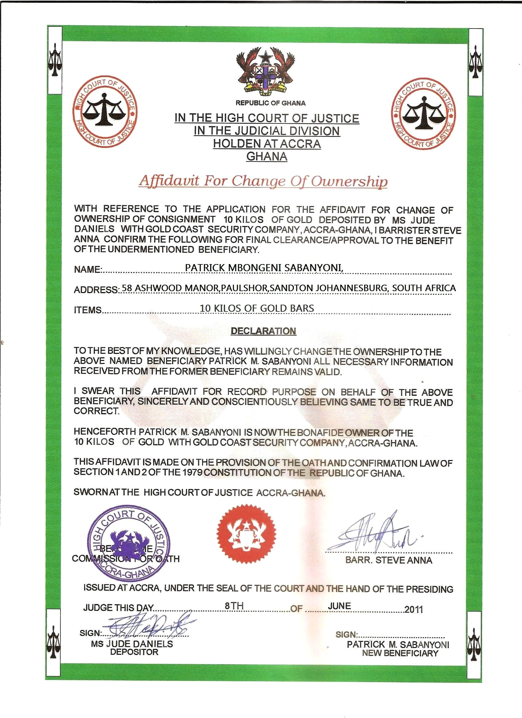 Affidavit For Ownership Transfer Certificate Templates Business Template Templates