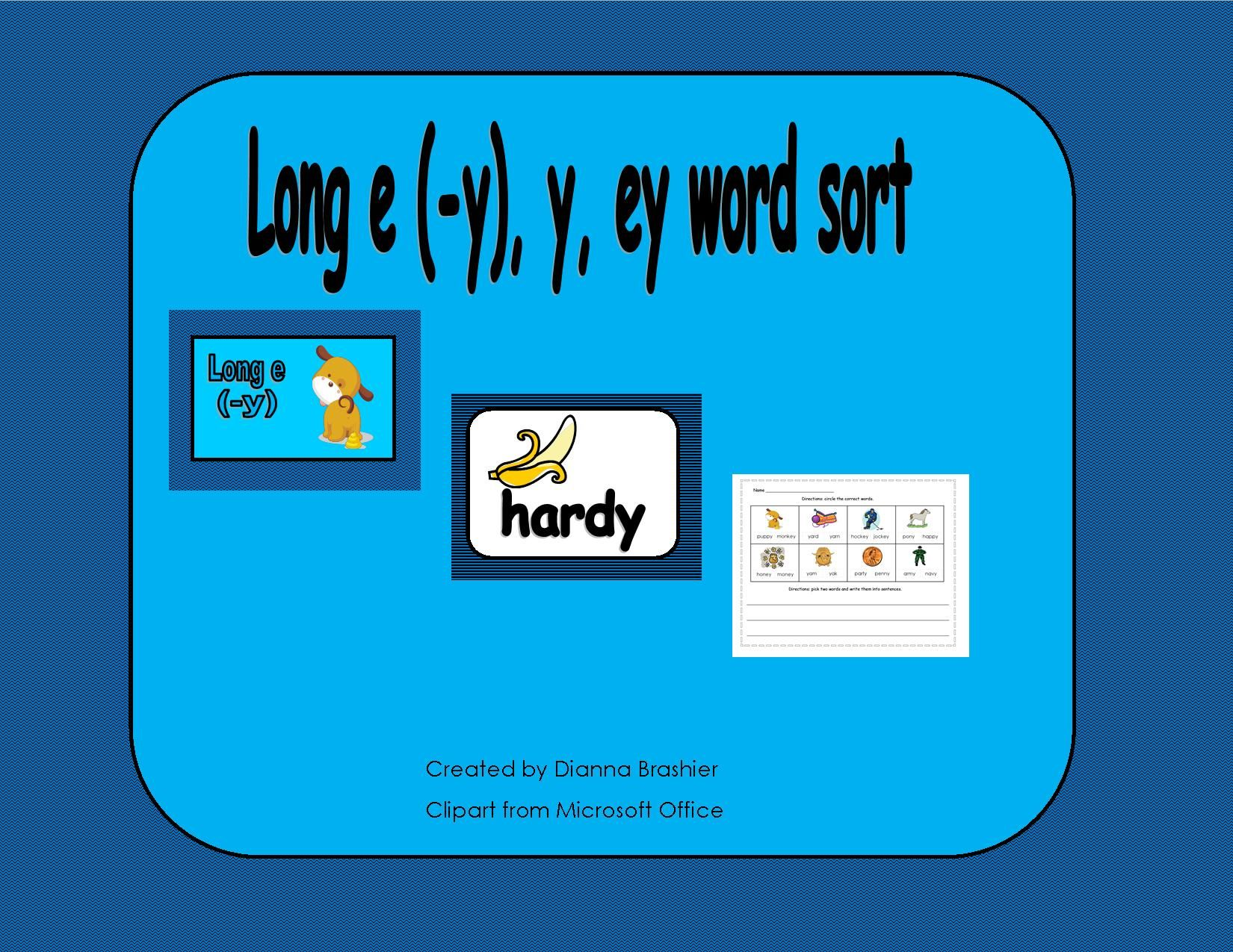 Long E Y Word Sorts And Worksheets