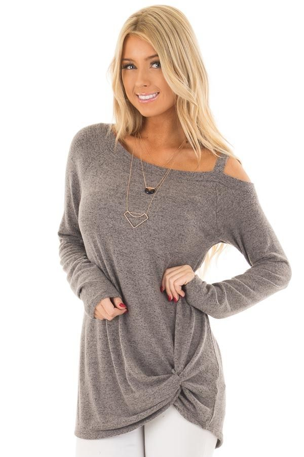 435e50f8d Lime Lush Boutique - Stormy Grey Soft Cold Shoulder Top with Twist Detail,  $36.99 (