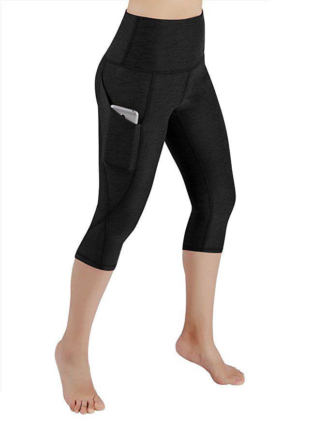 50f641a621f88 ODODOS High Waist Out Pocket Yoga Capris Pants Tummy Control Workout  Running 4 Way Stretch Yoga