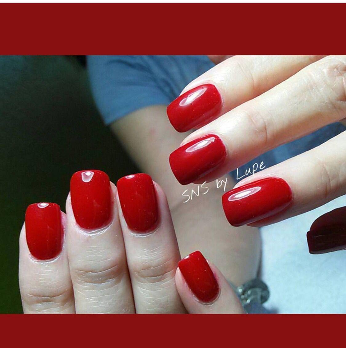 Red SNS nails ( dipping powder) !   Hair & Nails   Pinterest   Esmalte