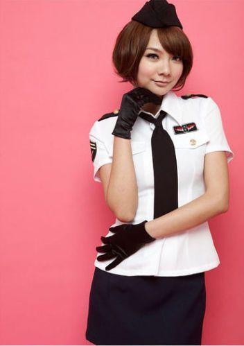 c92a2326409 Air Hostess Stewardess Costume, Black and White Stewardess Costume ...
