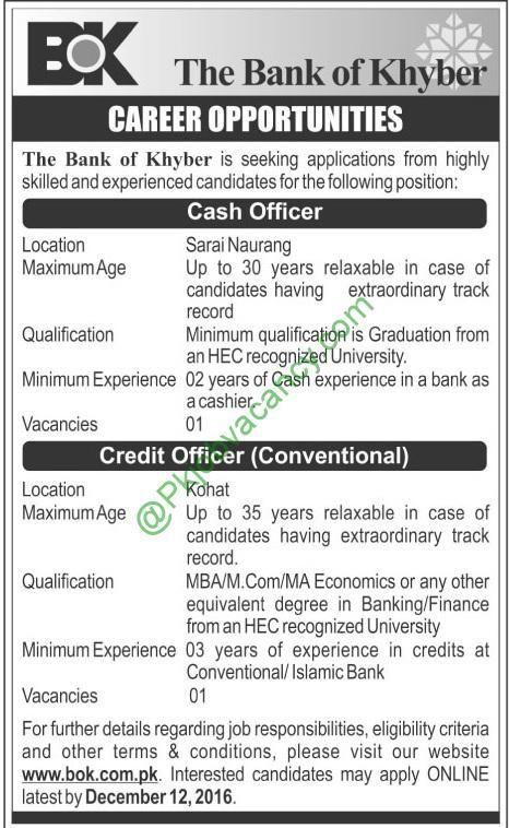 Career Opportunity In The Bank of Khyber 4th December 2016 Jobs - credit officer sample resume