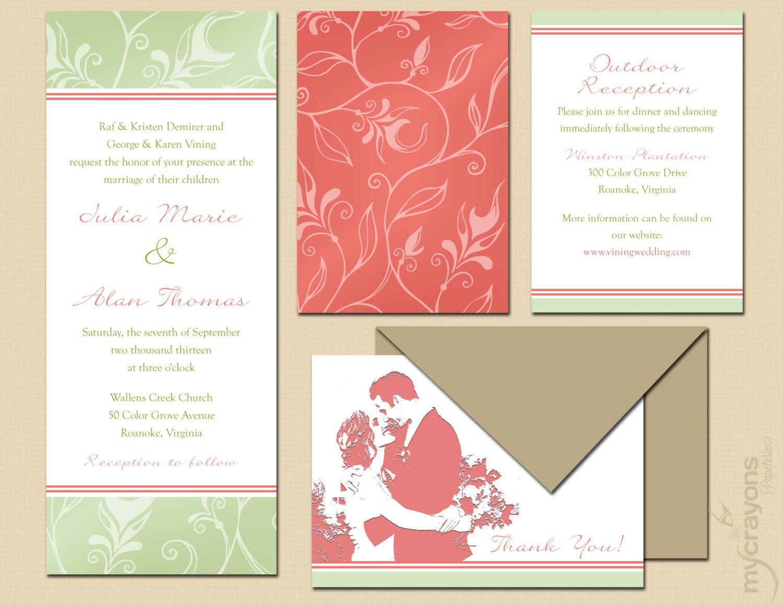 Delicate garden outdoor wedding invitation diy printable mint