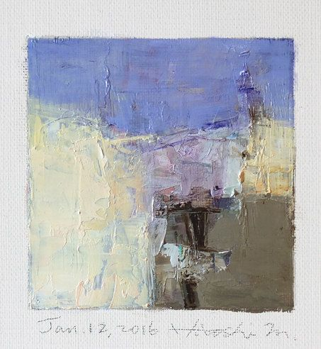 Jan. 12, 2016 - Original Abstract Oil Painting - 9x9 painting (9 x 9 cm - app. 4…