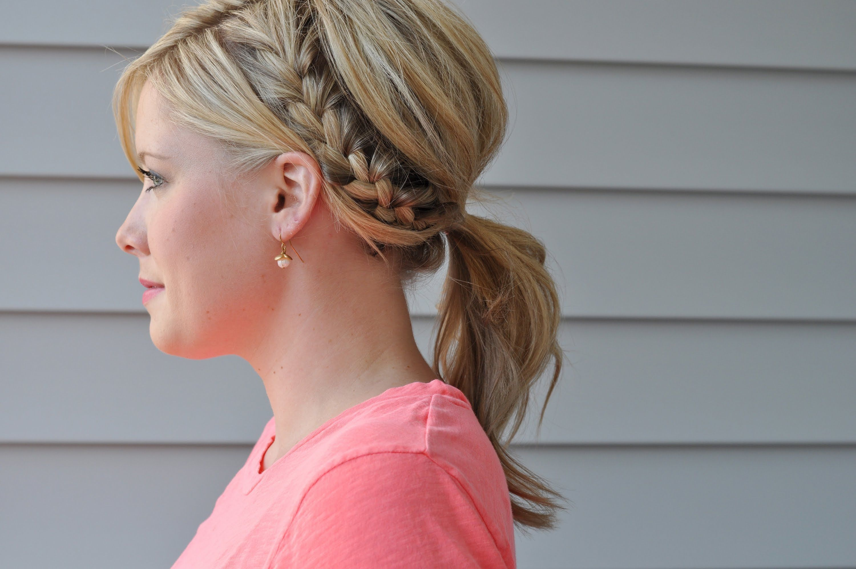 Side French Braid Ponytail Via Youtube Style Schulterlanges