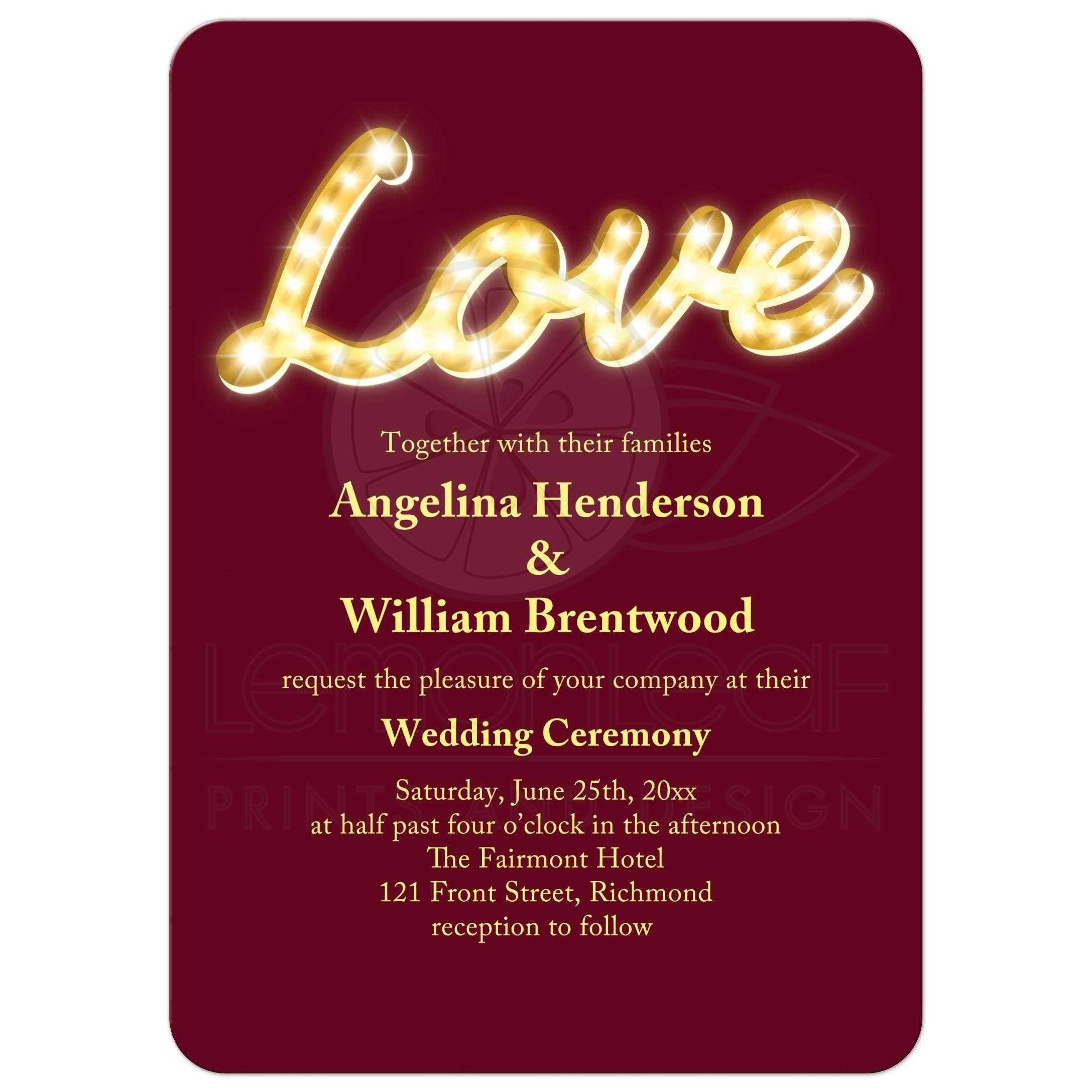 Wedding Invitation - Vintage Marquee Lights - marsala | Marquee ...