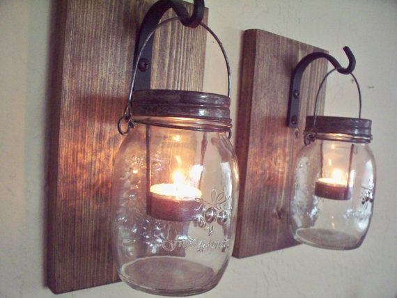 Wall Decor Set Of 2 Mason Jar Candle Holders On Wood By Snaksaks