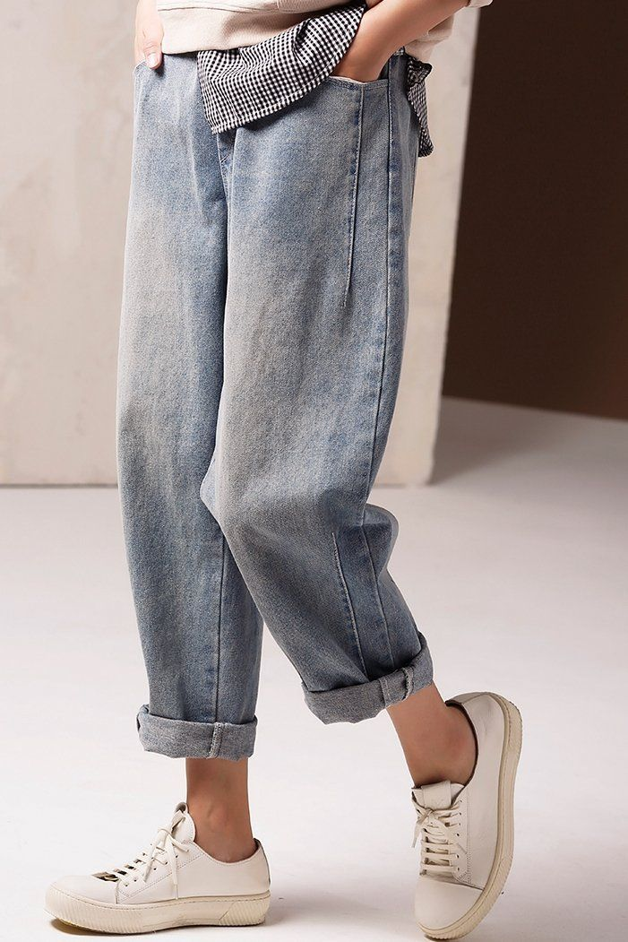 Vintage Casual Blue Cowboy Pants Women Spring Jeans N9900 – FantasyLinen