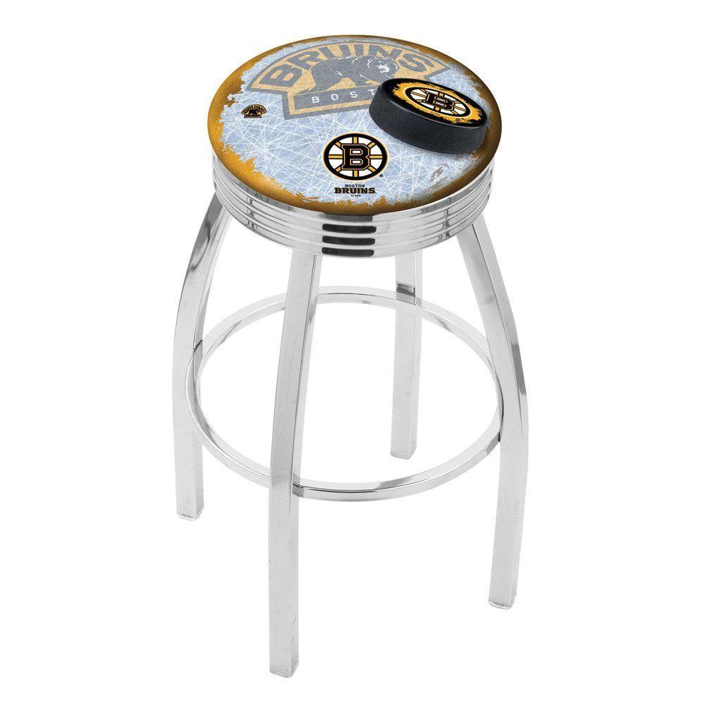 Boston Bruins Polished Chrome Swivel Stool Bar stools
