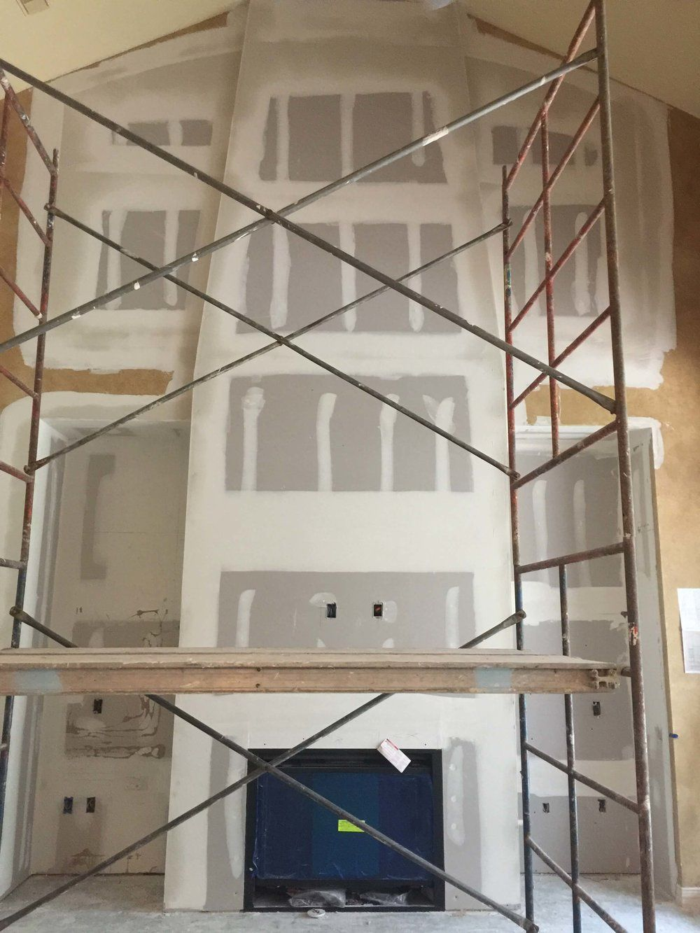 In Progress Niche Is Closed Up Fireplace Installed And Sheetrock Is Done Remodel House Inspo Design