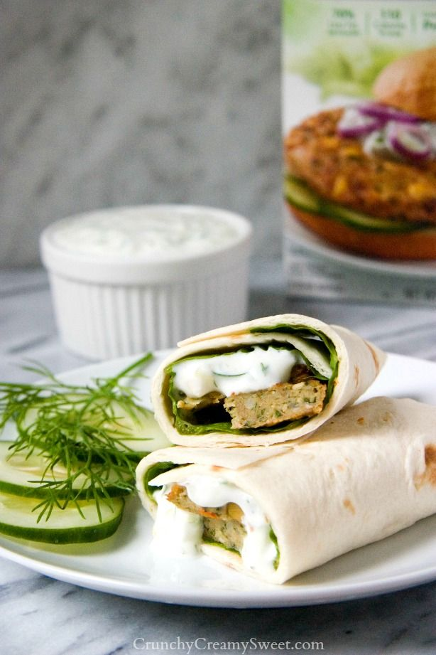 Mediterranean Chickpea Burger Wrap with Tzatziki Sauce - a healthy lunch or dinner idea a whole family will love!