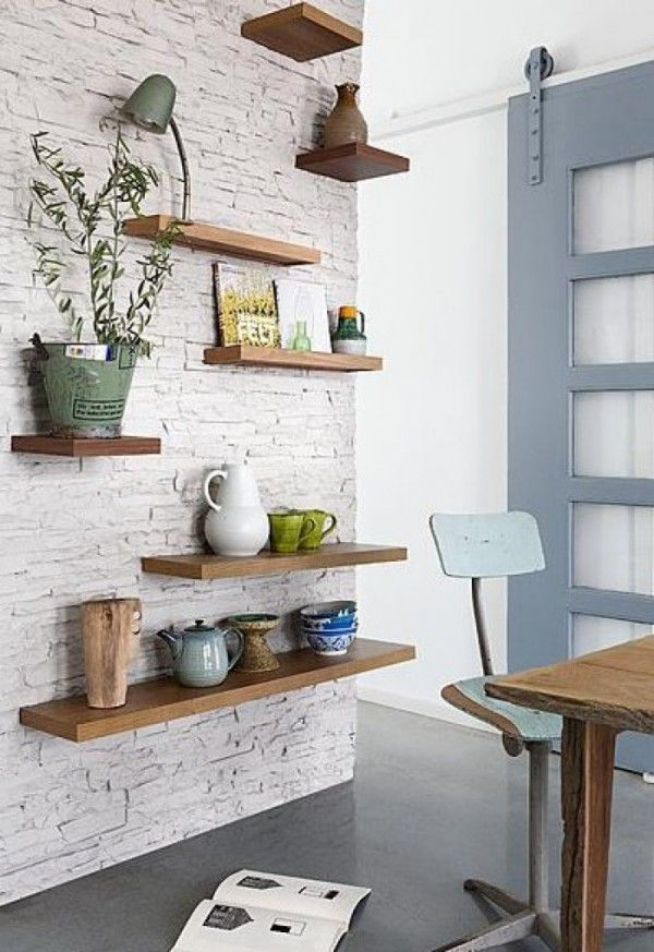 White Brick Walls For Trendy Home Floating Shelves Shelves Floating Shelves Diy