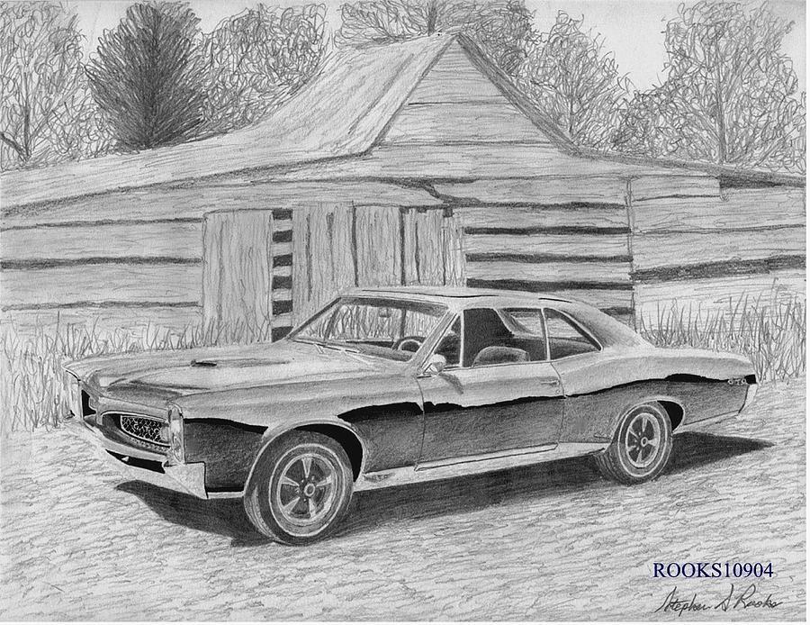 muscle car drawings | 1967 black pontiac gto muscle car art print