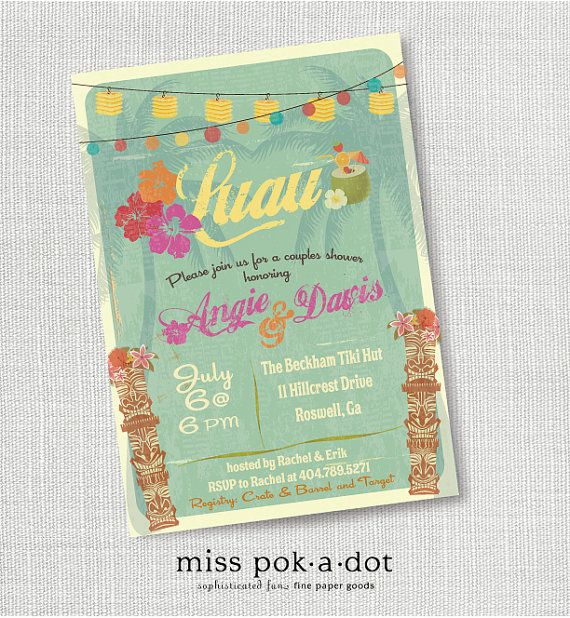 tiki luau Hawaiian party invitation  hawaiian luau by misspokadot, $15.00