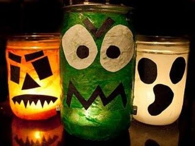 Decoupage and painted Halloween Jar Candles DIY kids