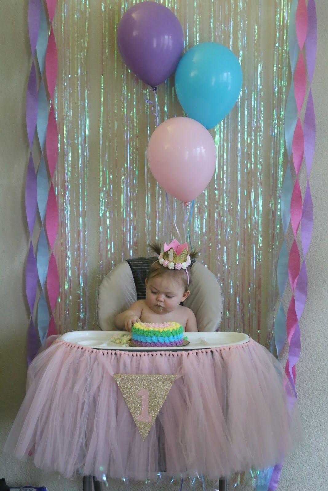 Unicorn First Birthday Smash Cake High Chair Backdrop 1st Birthday Party For Girls Birthday Chair Baby First Birthday