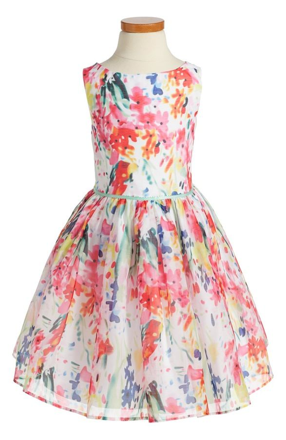Main Image - Pippa & Julie Floral Fit & Flare Dress (Toddler Girls, Little Girls & Big Girls)