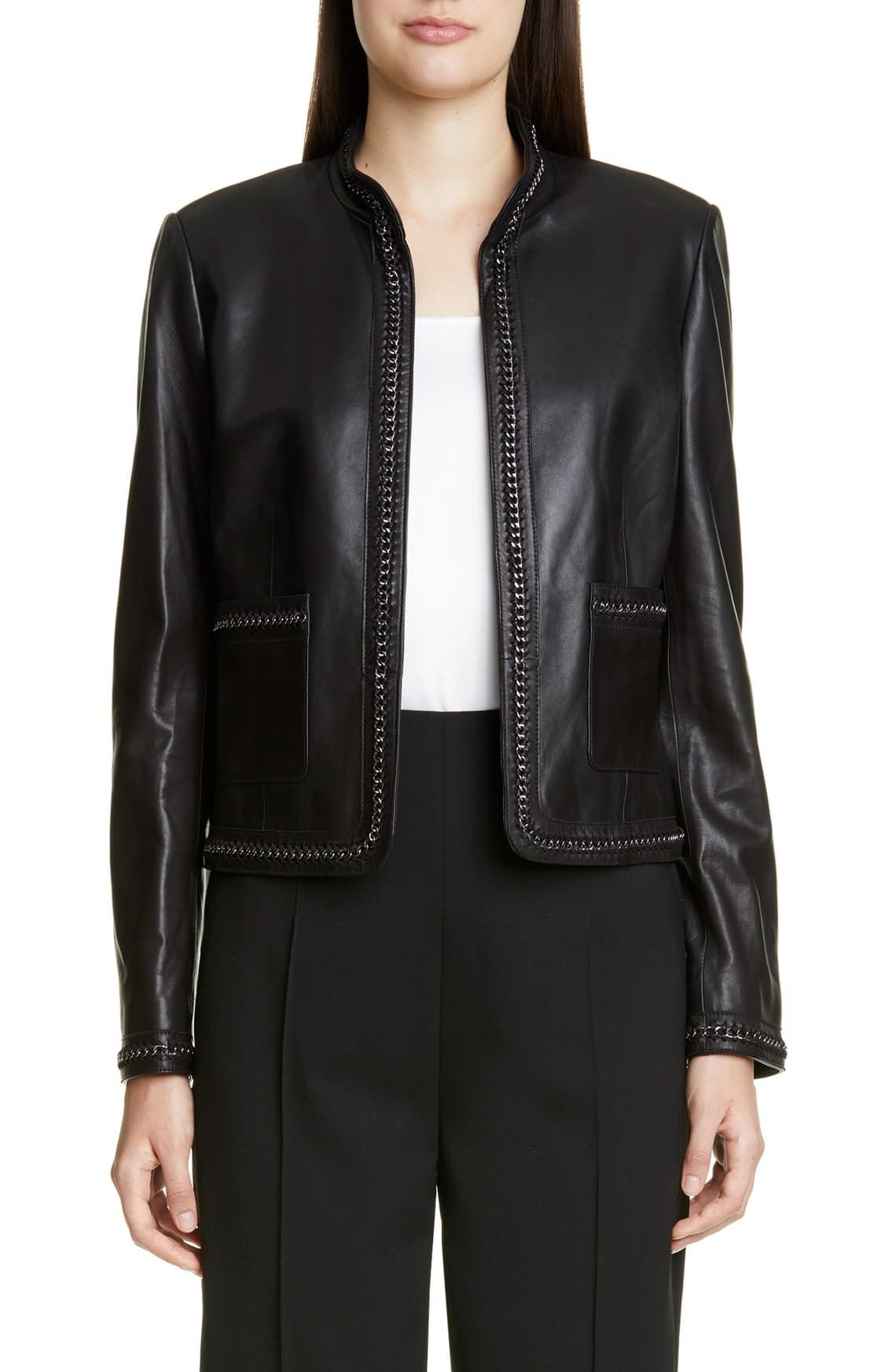 St. John Collection Chain Detail Leather Jacket