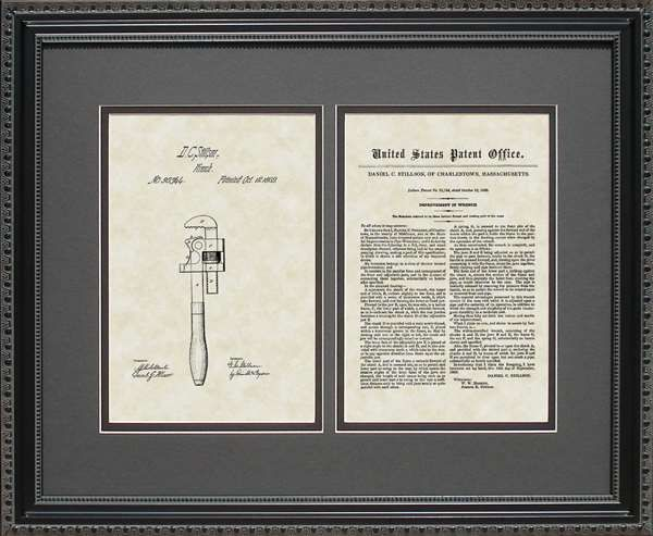 Pipe Wrench Patent Art Wall Hanging | Plumber Contractor Builder Gift