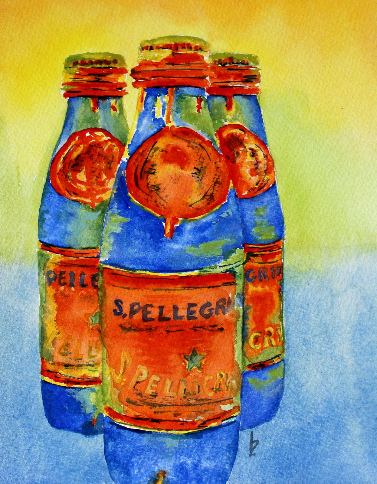 Kitchen Art Colorful Pellegrino Bottles Original Watercolor
