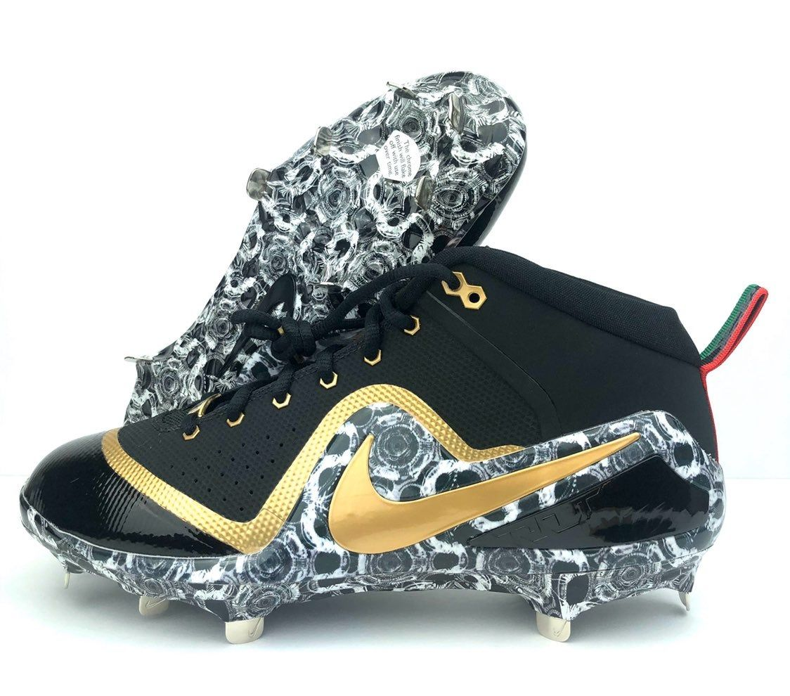 Nike Zoom Trout 4 Bhm Pe Baseball Cleats Color Black Gold White Ah7577 077 Size 10 Brand New Without Original Box S Cleats Baseball Cleats Nike Zoom