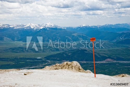 Closed sign in the snow at Rendezvous Peak, Jackson Hole valley below , #Ad, #snow, #Rendezvous, #Closed, #sign, #Hole #Ad