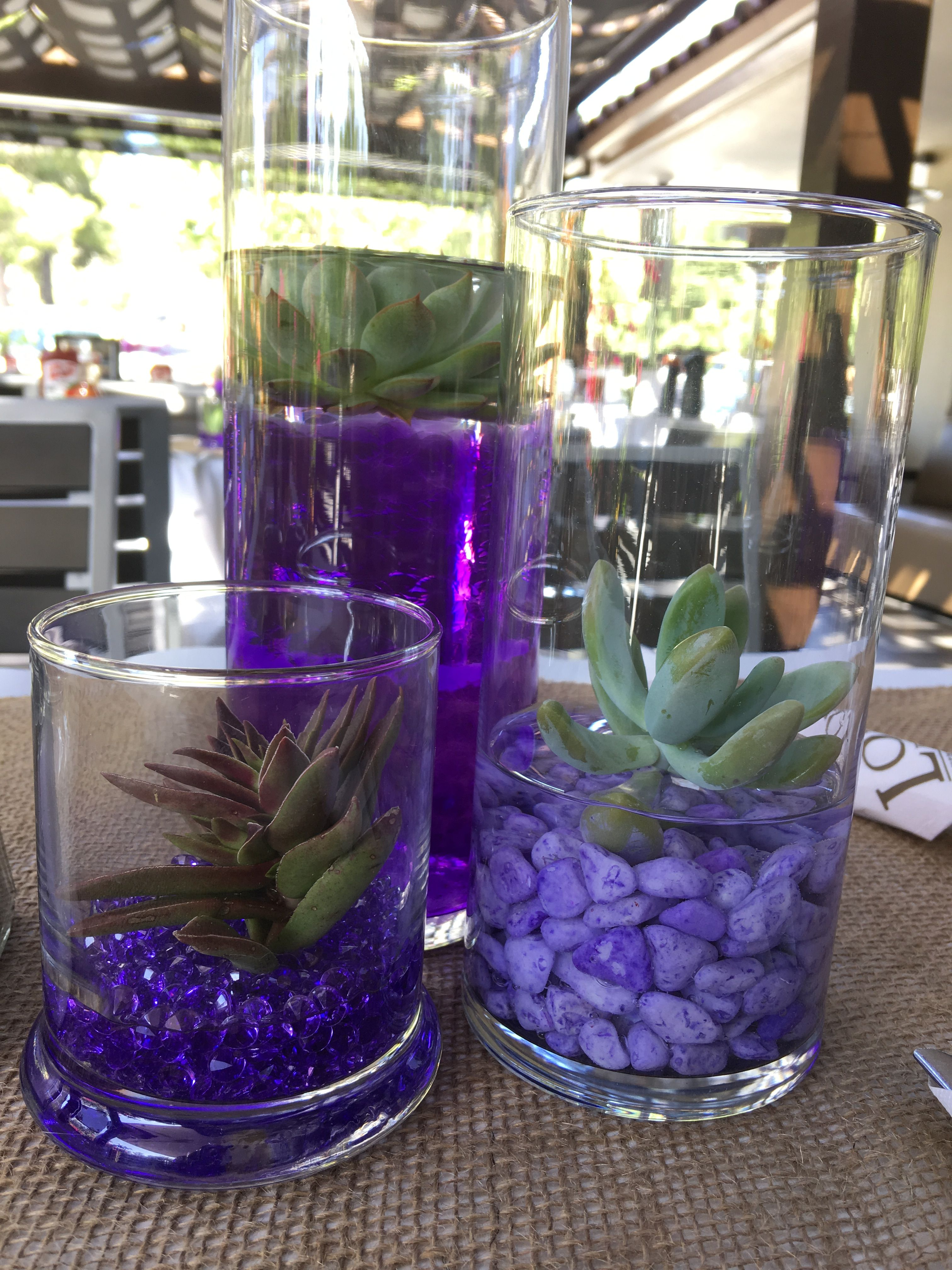 Purple and succulent centerpieces hawaii weddings by tori rogers