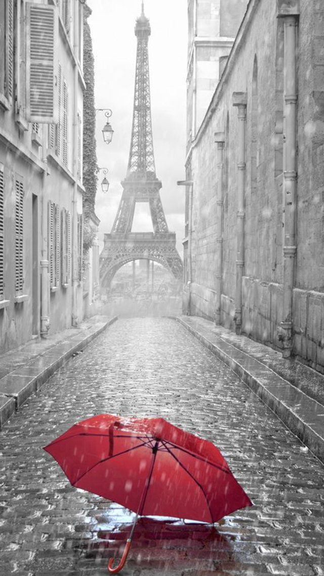 Red Umbrella Paris Street Rainy Day Eiffel Tower Iphone