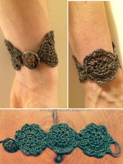 Crochet Flower Bracelet Free Pattern Happiness Crafty Jewelry