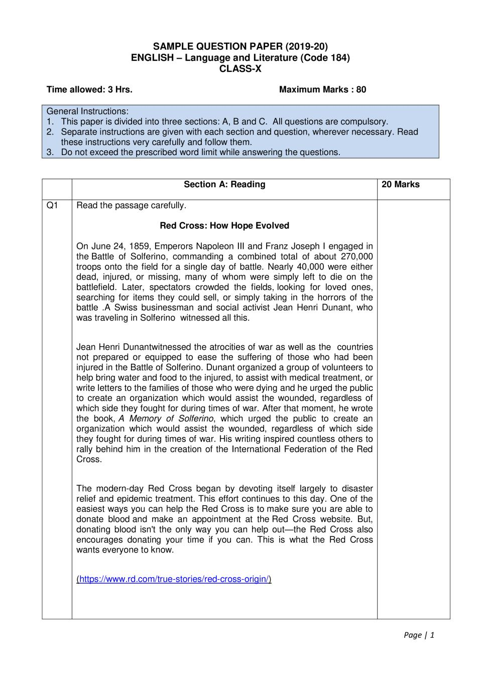 Cbse Sample Papers 2020 For Class 10 English Language And Literature Aglasem Schools Sample Paper Language And Literature Sample Question Paper [ 1355 x 958 Pixel ]