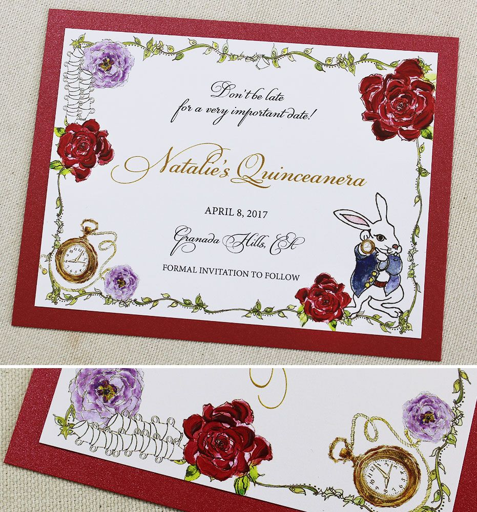 Juliet M. - Alice in Wonderland Quinceanera Invitation | Red roses ...