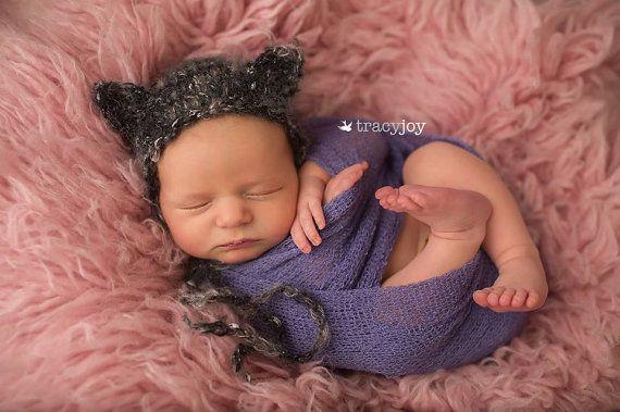 New Born Cat Bonnet, Animal bonnet, Knitted new born  Cat bonnet, black pussy bonnet