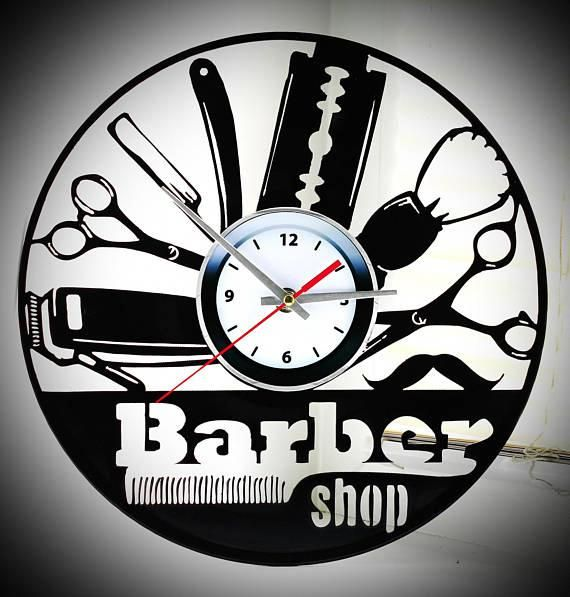 Wall Clock Barber Shop Made From Vinyl Records Can Be A Wonderful Gift To Lovers Of All Creative Unusual And Stylish And They Wi Clock Wall Clock Barber Shop