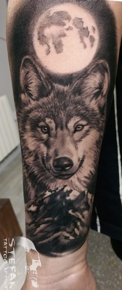 #wolf #moon #half #sleeve #blackandgrey #blackandwhite # ...