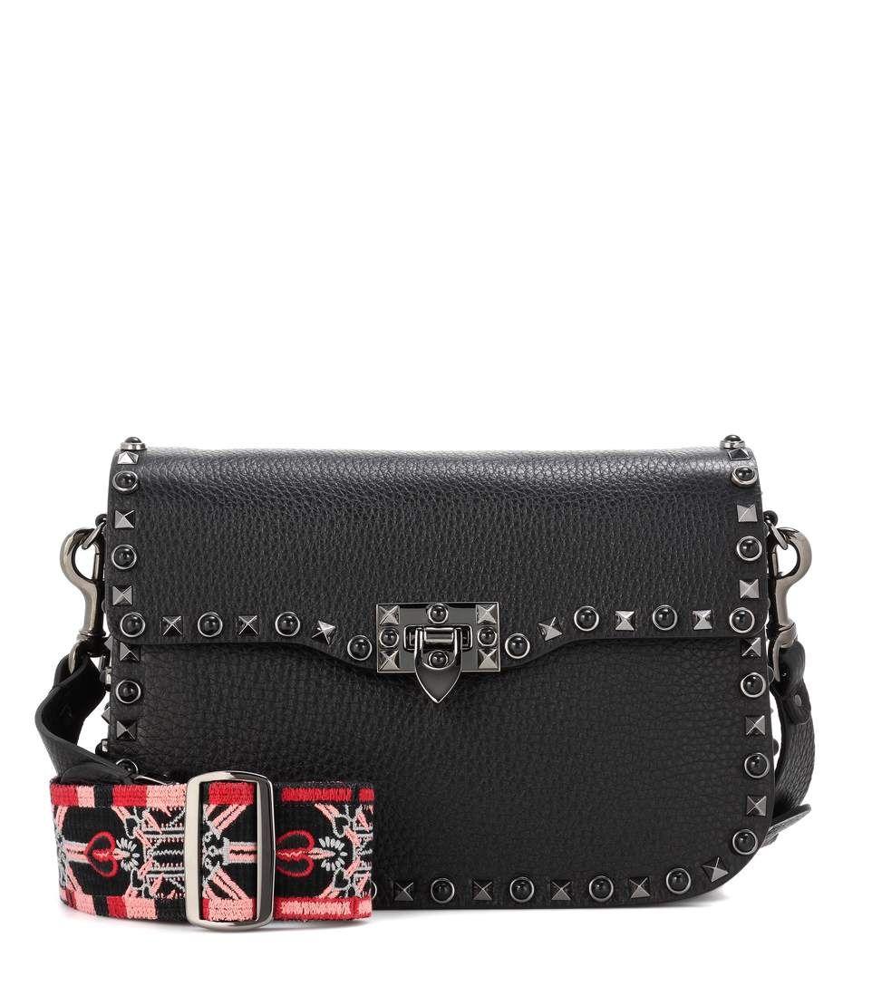 34664f5cf386d VALENTINO Valentino Garavani Guitar Rockstud Rolling Noir Leather Shoulder  Bag.  valentino  bags  shoulder bags  lining  denim  suede