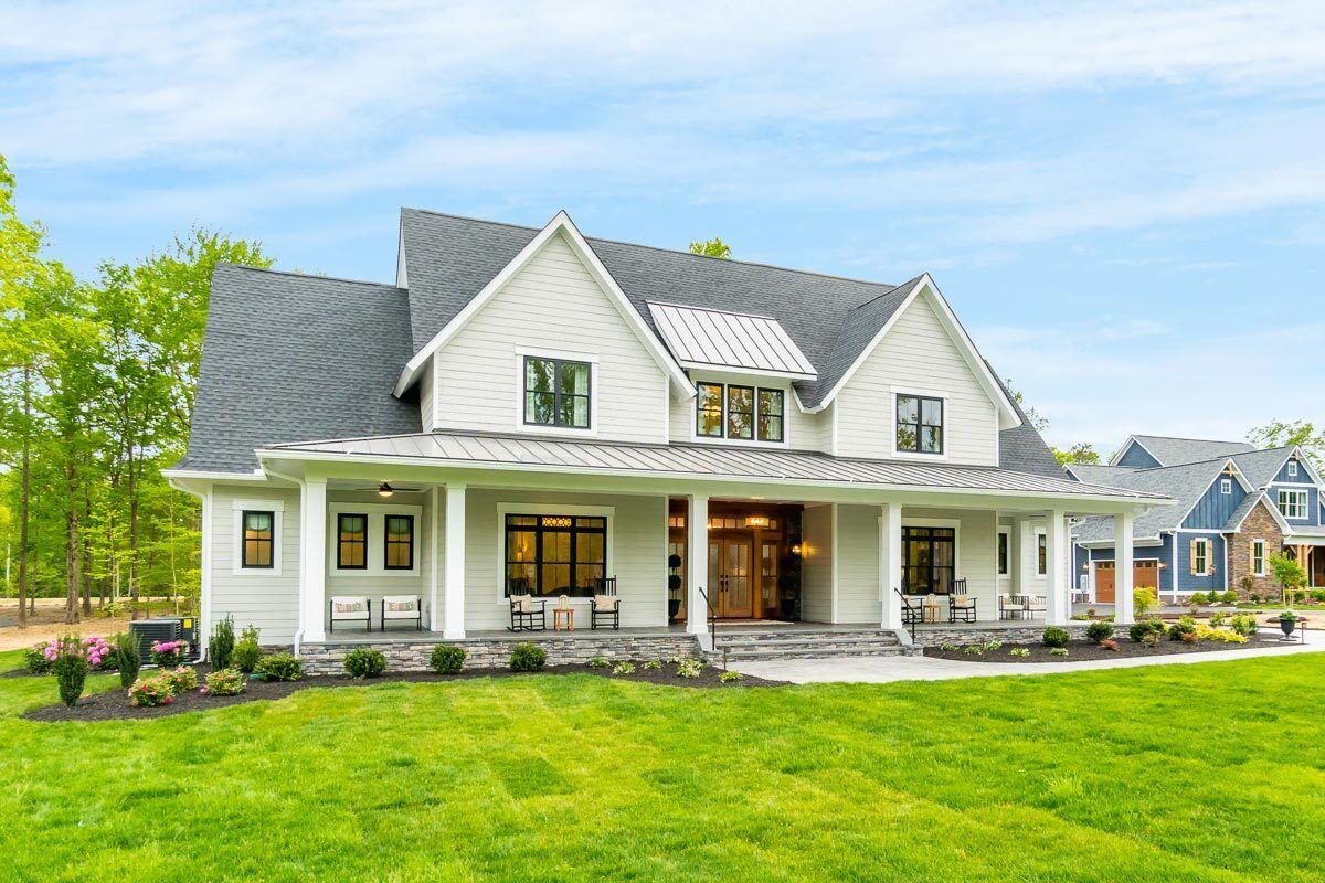Plan 14689RK: Modern Farmhouse Plan with Formal Di