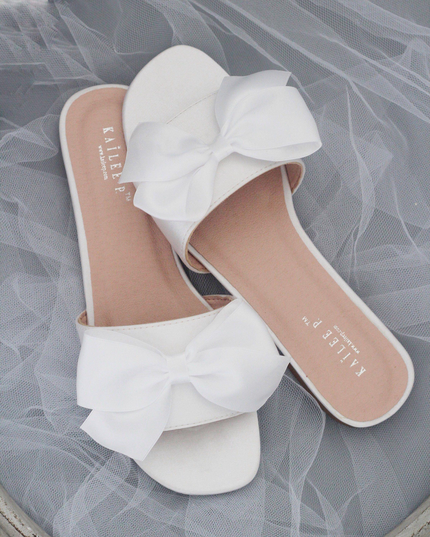 83f610416 WHITE SATIN Slide Flat Sandals with Satin Bow - Bridal Sandals, Bridesmaids  Sandals, Wedding