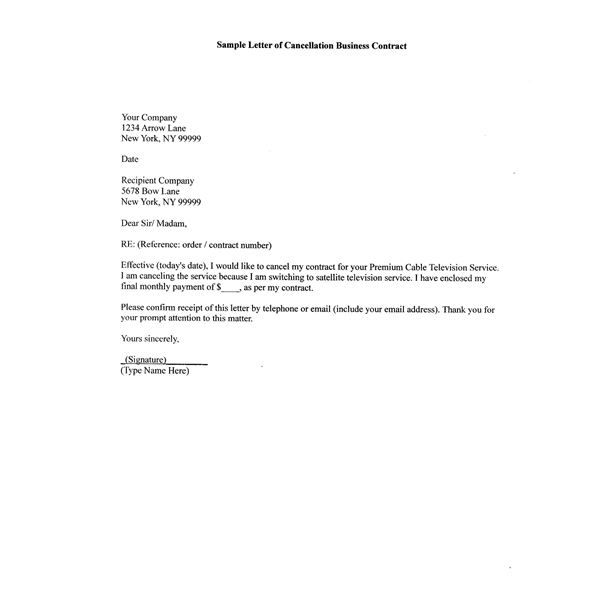 Printable Sample Contract Termination Letter Form – Termination Letters