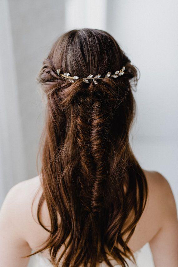 Bridal Hair Piece   Crystal Leaf Hair Vine   Gold Leaf Hair Vine   Wedding Hair Piece   Bridal Headp
