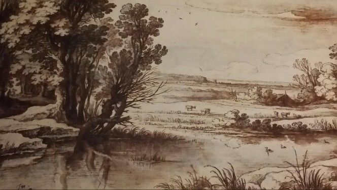 """TREES AT THE EDGE OF A POOL. 1609. pen and brown ink with brown and grey wash. 158 × 225 mm. Signed and dated """" Pa. BRIL. .1609 in Romae lower left. Provenance : 1895, presented by British Museum of London. London. British Museum. Department of Prints and Drawings. Inv. No. 1895 - 9 - 15 - 1029."""