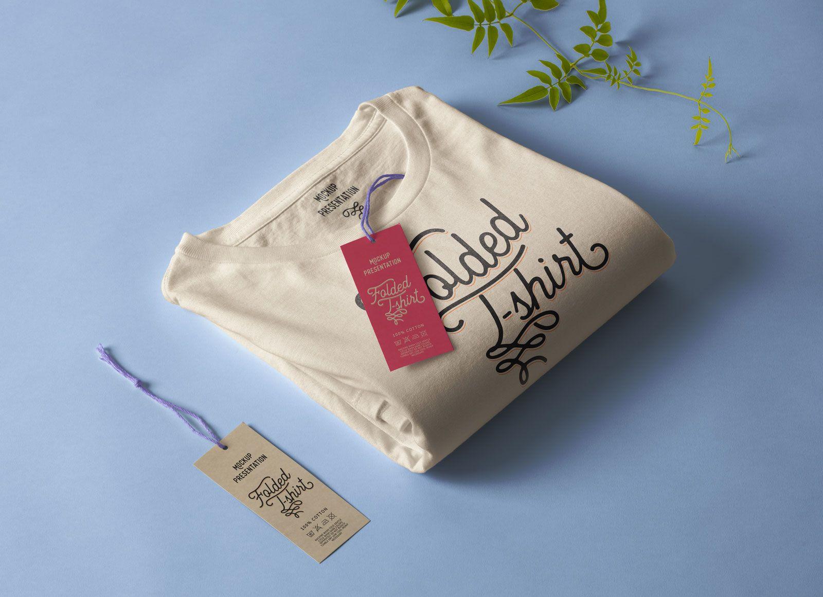 Free Folded T Shirt With Hang Tag Mockup Psd Hang Tags Fold Mockup